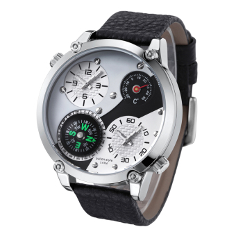 Harga 2016 High Quality HP3707 Men's Big Dial Multifunctional Thermometer Compass Decoration Design Leather Strap Watch(white)