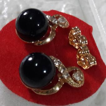 Infinity earring with charm stone ( black ) and crystal Korean Style hypoallergenic - 2