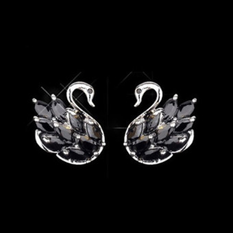 INS black female elegant small earrings stud