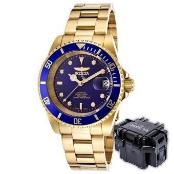 INVICTA Pro Diver Men 40mm Case Gold Stainless Steel Strap BlueDial Automatic Watch 8930OB w/ Impact Case B - intl Price Philippines