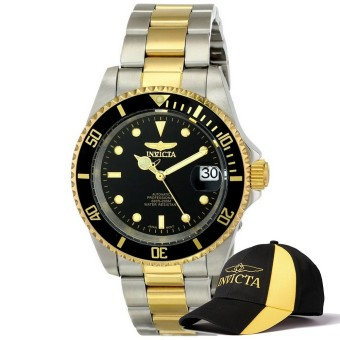 Invicta Pro Diver Men 40mm Case Steel, Gold Stainless Steel Strap Black Dial Automatic Watch 8927OB & Baseball Cap Hat Price Philippines