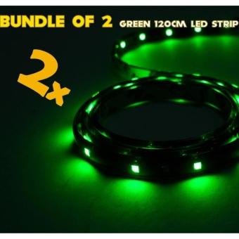 IP68 Rated 120cm (Green) WaterProof LED Strip Tape Light (Bundle of 2)