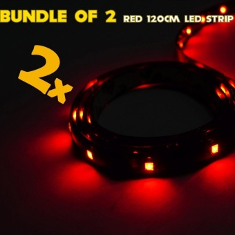 IP68 Rated 120cm (Red) WaterProof LED Strip Tape Light (Bundle of 2)