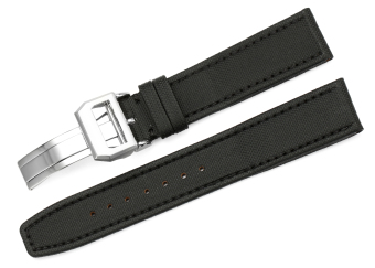 iStrap 20mm Kevlar Fabric + Leather Watch Band Steel DeployantStrap fit IWC Chronograph - Black - Intl Price Philippines
