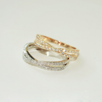 J005 micro inlay zircon cross Ring (Champagne gold diameter 16mm) (Champagne gold diameter 16mm)
