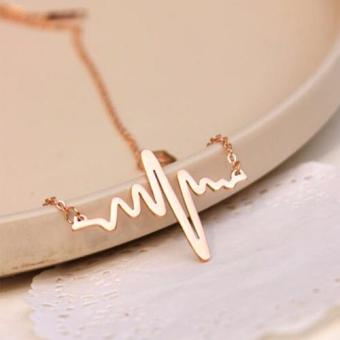 J&J 18K Gold Filled Heartbeat ECG Necklace - 4