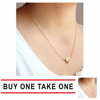 J&J Buy One Take One Gold Plated Single Dainty Heart Necklace