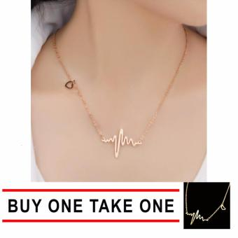 J&J Buy One Take One Luxury Gold HeartBeat Necklace