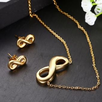 J&J Gold Stainless Steel Infinity Necklace with Infinite Earrings Price Philippines