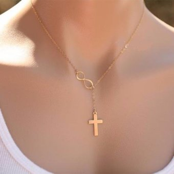 J&J Infinity Cross Necklace (Gold)
