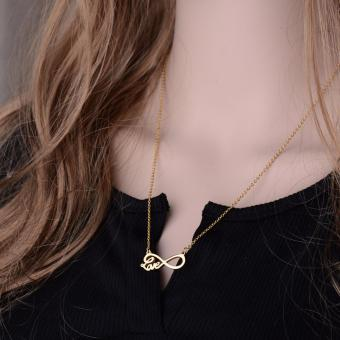 J&J Infinity Love Word Stainless Steel Pendant Chain Necklace Gold