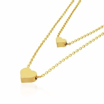 J&J Stainless Steel Layered Dainty Heart Necklace (Gold)