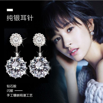 Japan and South Korea crystal 925 pure silver needle silver stud ladies' earrings