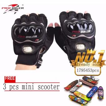 JAPAN and USA best selling free 3pcs mini scooter BLACK/SLIVERFingerless Motorcycle Gloves Half Finger Guantes Motorcross BicycleRiding Racing Cycling Sport Gears Breathable Luvas (Black)