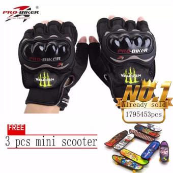 JAPAN and USA best selling free 3pcs mini scooter FingerlessMotorcycle Gloves Half Finger Guantes Motorcross Bicycle RidingRacing Cycling Sport Gears Breathable Luvas