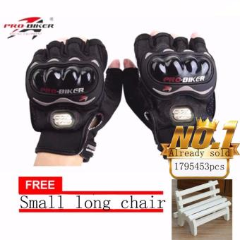 JAPAN and USA best selling free Small long chair BLACK/SLIVERFingerless Motorcycle Gloves Half Finger Guantes Motorcross BicycleRiding Racing Cycling Sport Gears Breathable Luvas (Black)
