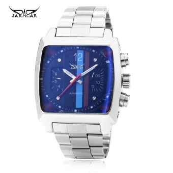 JARAGAR F120549 Male Automatic Mechanical Watch Date Day RectangleDial Luminous Pointer Wristwatch - intl