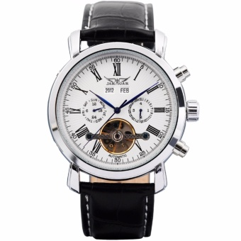 JARAGAR Luxury Men's Black Leather Automatic Mechanical Date DaySport Wrist Watch PMW017 - intl