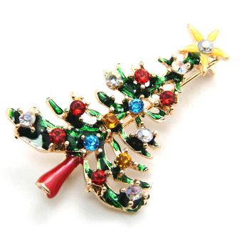 Jetting Buy Brooch Crystal Christmas Tree Enamel Rhinestone - picture 2