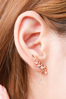 Jetting Buy Clip Earrings Asymmetric Leaf Crystal Gold Price Philippines