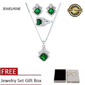 Jewelmine Arrow Emerald Cubic Zircon Jewelry Set ( white gold)