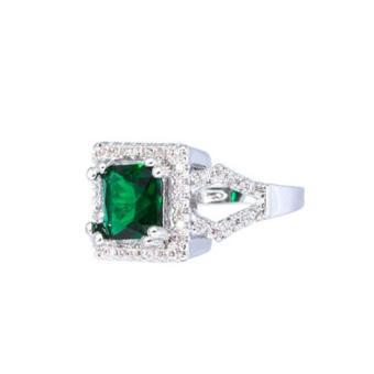 Jewelmine Arrow Emerald Cubic Zircon Jewelry Set ( white gold) - 5