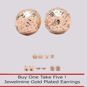 Jewelmine Circle 18k Gold Plated Earrings (Buy One Take Five)