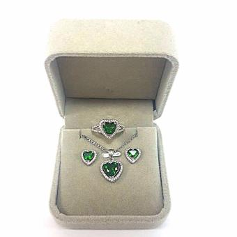 Jewelmine Heart Emerald Cubic Zircon Jewelry Set (white gold)