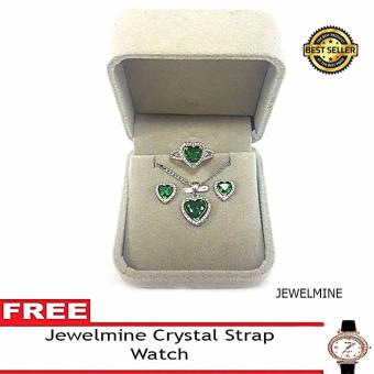 Jewelmine Heart Emerald Cubic Zircon Jewelry Set with free Crystal Leather Strap Watch (white gold)