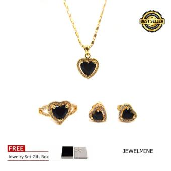 Jewelmine Heart Onyx Cubic Zircon Jewelry Set (gold)