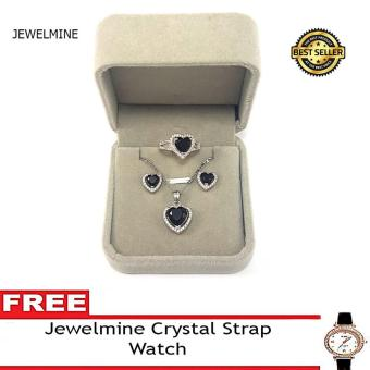 Jewelmine Heart Onyx Cubic Zircon Jewelry Set with free Crystal Leather Strap Watch ( white gold)