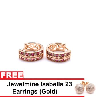 Jewelmine Phoebe 52 Cubic Zircon Earrings (Gold) With Free Jewelmine Isabella 23 Earrings (Gold)