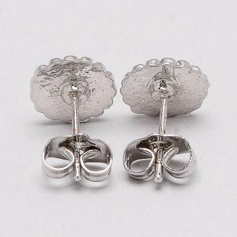 Jewelmine Round 18k White Gold Plated Earrings (Silver) - 3