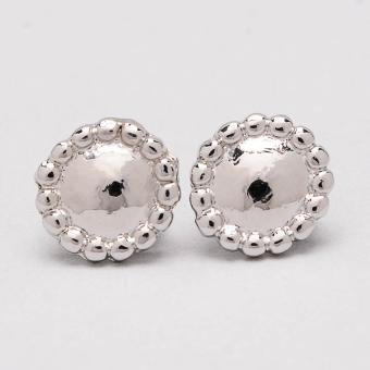 Jewelmine Round 18k White Gold Plated Earrings (Silver)