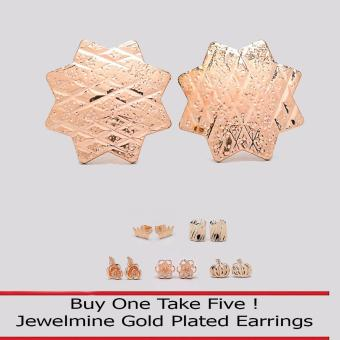 Jewelmine Star 18k Gold Plated Earrings (Buy One Take Five)
