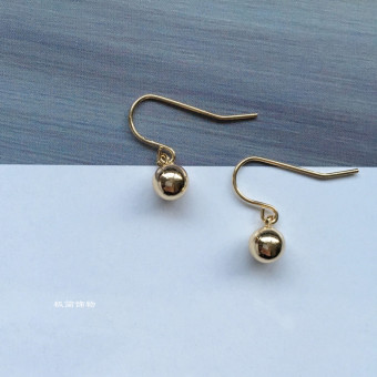 Jewelry European and American lucky beads gold and silver ball earrings
