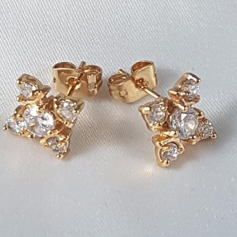 Jewelworld Blossom Cubic Zircon Earrings (gold)