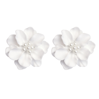 Jianyue white elegant flower pearl stud exaggerated earrings