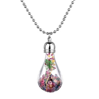 Jiayiqi Rhinestone Dried Flower Pendant Necklace Glass Lamp BlubNecklace Jewelry For Women - intl