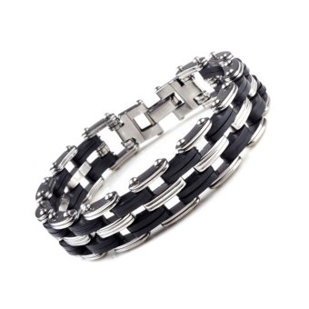 Jiayiqi Silver Bicycle Chain Stainless Steel Silicone Mens Charm Bracelet