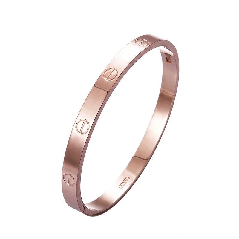 Jiayiqi Simple Women Titanium Bangle Rose Gold Charm Bracelet ...