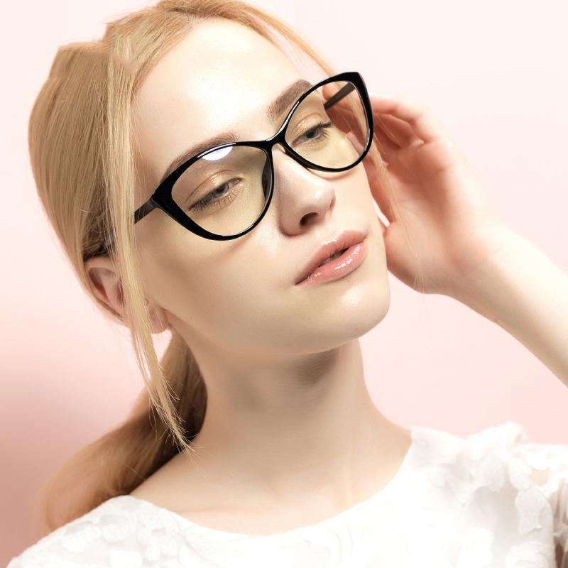 JINQIANGUI Fashion Glasses Frame Vintage Retro Cat Eye Glasses BrightBlack Frame Glasses Plastic Frames Plain for