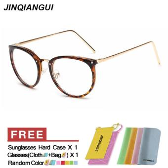 JINQIANGUI Fashion Women Glasses Frame Vintage Retro Cat Eye Glasses Leopard Frame Glasses Plastic Frames Plain for Myopia Women Eyeglasses Optical Frame Glasses - intl
