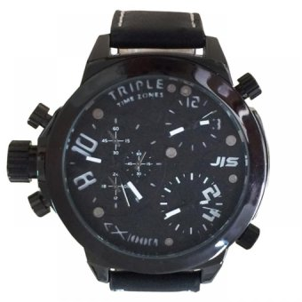 JIS 1125 Men's Black Leather Watch with Sub Dial Design (Black)#0127