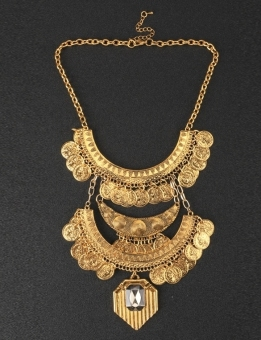Jo.In Statement Rhinestone Chains Chocker Link Pendant Necklace (Gold) - picture 2