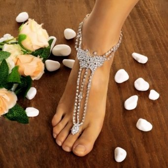 Jo.In Women Butterfly With Toe Ring Foot Chain Rhinestone Barefoot Wedding Bride Anklets (Multicolor)