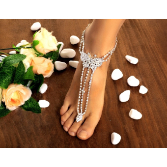Jo.In Women Butterfly With Toe Ring Foot Chain Rhinestone Barefoot Wedding Bride Anklets (Multicolor) - picture 2