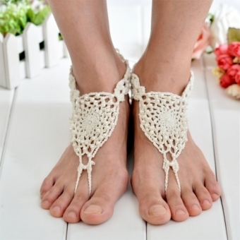 Jo.In Women Hand-made Knit Crochet Hollow out Beads Lace Up Casual Beach Anklets Bracelets (Multicolor)