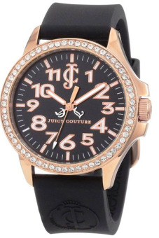 Juicy Couture Jetsetter BLACK Silicone Strap Watch