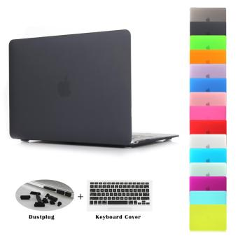 JUSHENG 3in1 Air 13 Matting Rubber Coated Plastic Hard Case withKeyboard Cover & Dust Plug for MacBook Air 13 inch (Model:A1369 and A1466)-Black